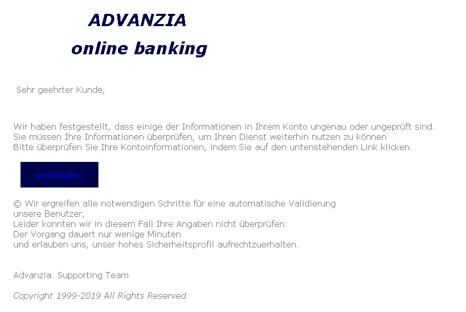 Advanzia Phishing-Mail