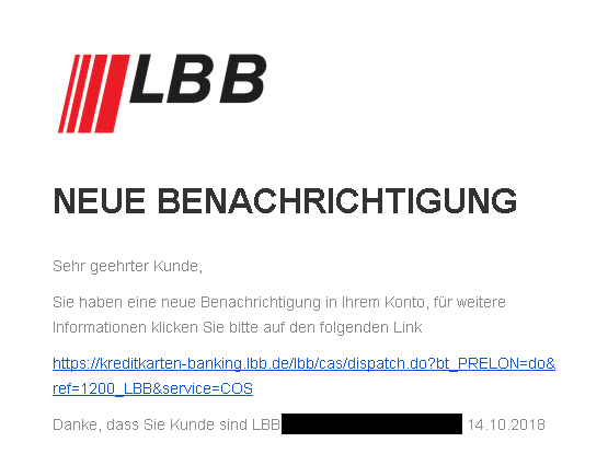Landesbank Berlin Phishing-Mail