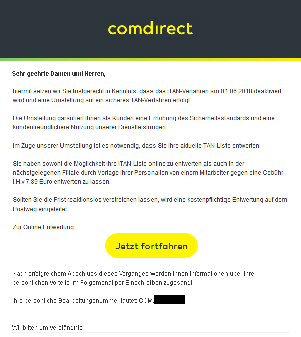 comdirect Phishing-Mail